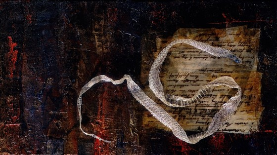 Velocity or Pause? (Return) 1997 Oils, acrylics, plaster, collage, snake skin, on wood 37.5 x 65 cm Private collection UK