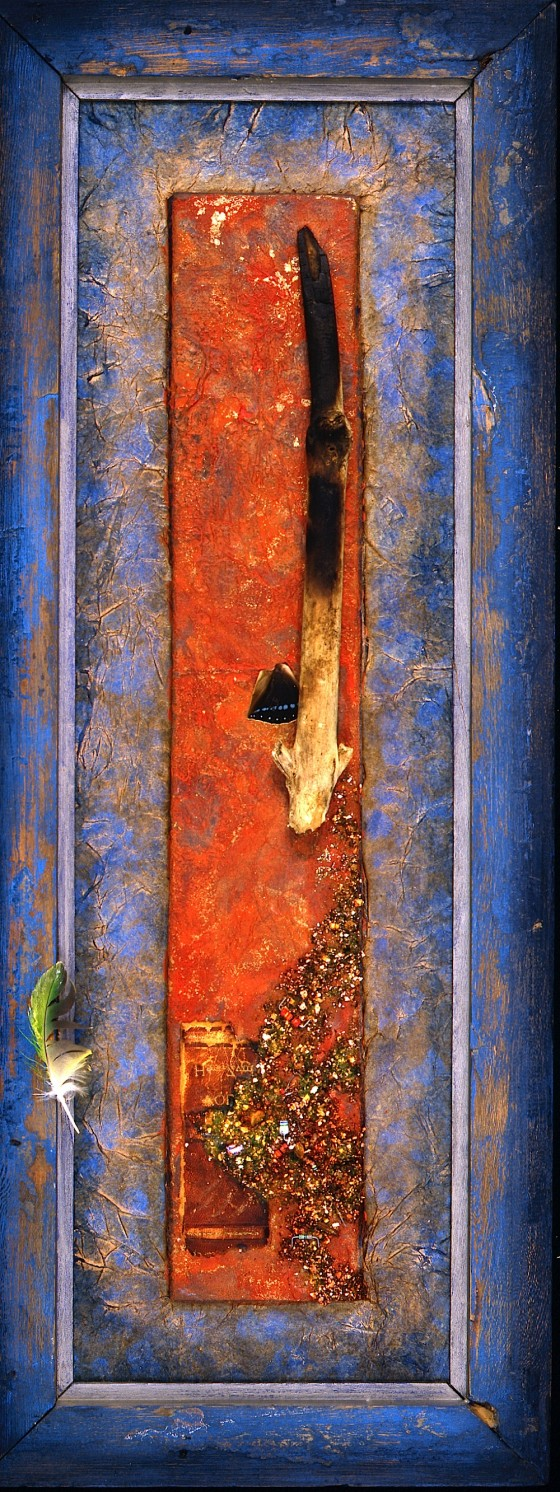 Walk With A Child 1989 Oils, acrylics, plaster, earth, wood, burning, feather, book spine fragment, paper, gold leaf, computer parts, butterfly wing, on wood 55.5 x 20.3 cm Private collection UK