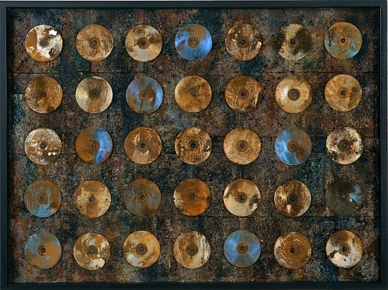 What Was Is Not 2001 Oils, acrylics, plaster, earth, ash, book covers, pigments, bronze powders, CDs, rust dust, chemicals, on wood 91.5 x 122 cm