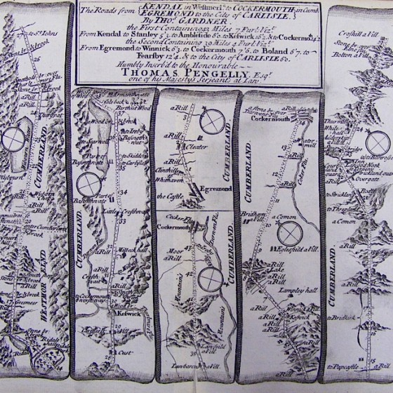 thomas penelly road map kendal to cockermouth 1780